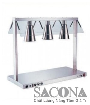 ĐÈN HÂM NÓNG THỨC ĂN 3 BÓNG Model / Mã hàng : SNC520814 Size / Kích thước: 1050×490×700mm Power / Công suất: 1 lamp/ bóng 500W, 3 lamp/ bóng 1.5KW Materal / Chất liệu: Inox Brand / Nhãn hiệu : Sacona