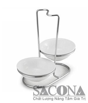 GIÁ ĐỠ VÁ SOUP 2 NGĂN Mã: SNC520336/2 Material / Chất liệu:Inox + Porcelain/ Inox + Sứ Brand / Nhãn hiệu : Sacona