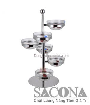 GIÁ THỦY TINH ĐỂ CHÉN 6 TẦNG ĐẾ XOAY ĐƯỢC Model / Mã hàng : SNC520504