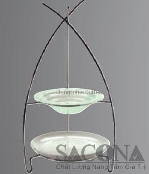GIÁ TRANG TRÍ 2 TẦNG TÔ THỦY TINH Model / Mã hàng : SNC520510